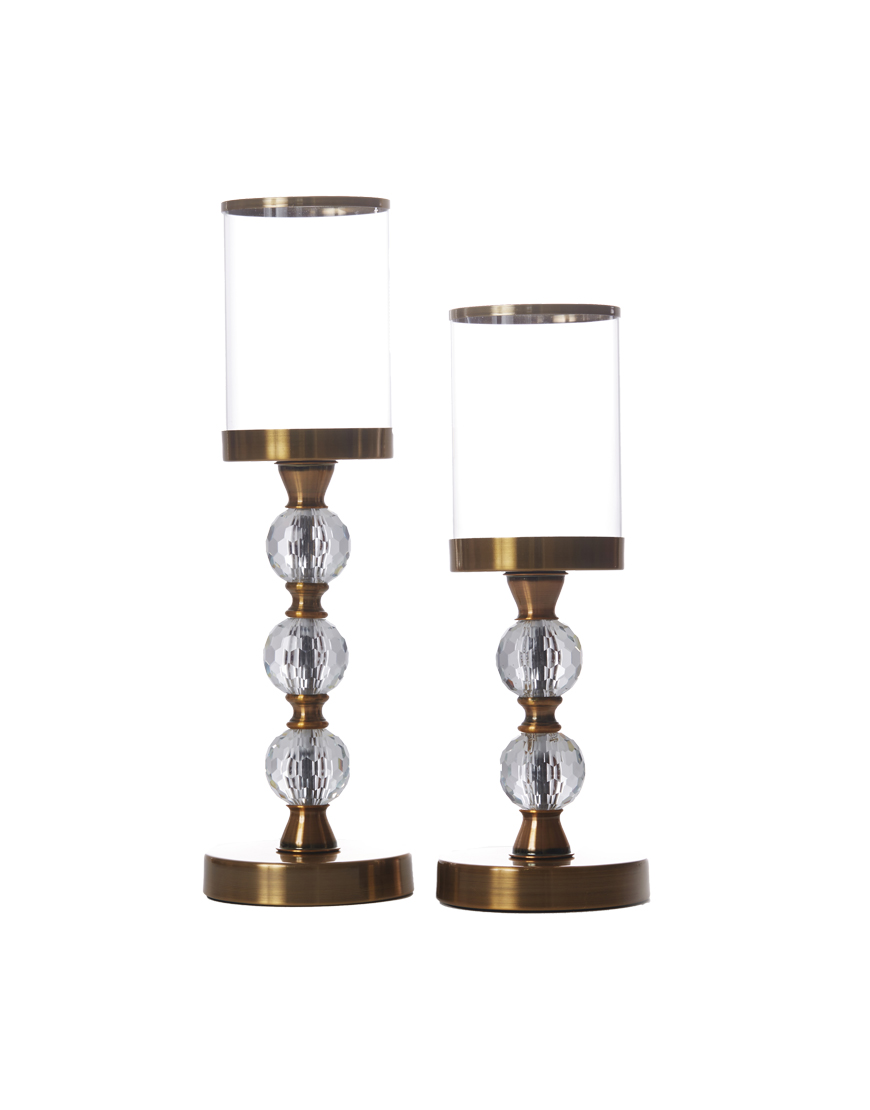 Tall Pillar Candle Holder Gold